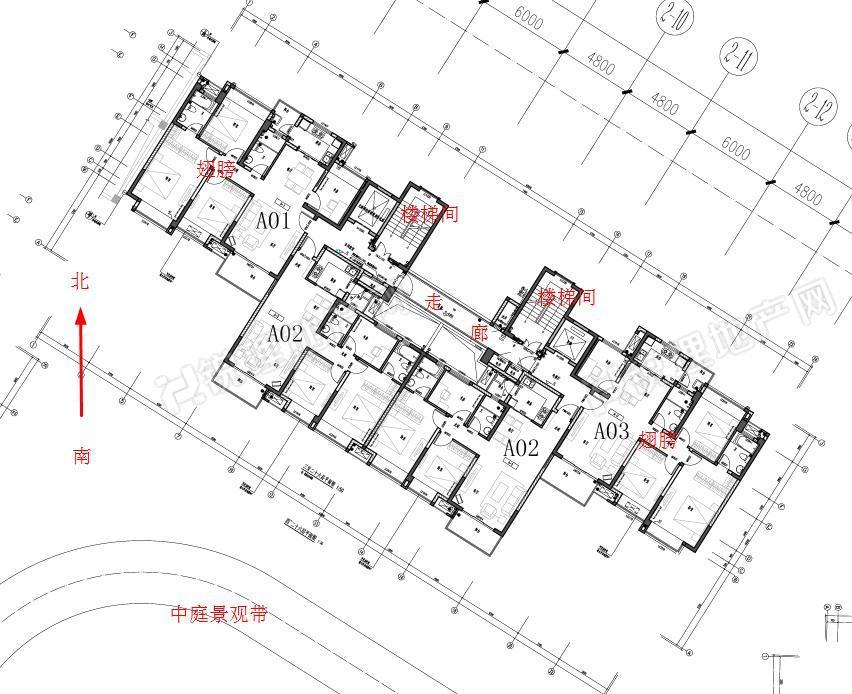 """招商中央华城""""北廊户型""""标准层平面图"""