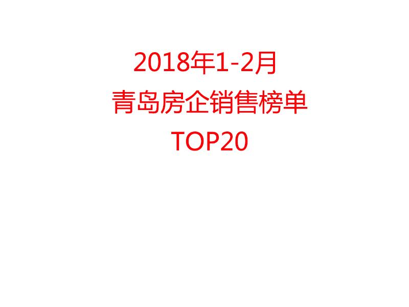 2018年1-2月青岛房企销售榜单